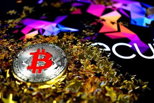 Bitcoin Sparkle Color Silver Red Bitcoin Btc