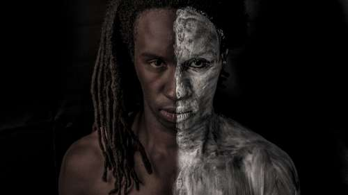 Black And White Face Paint Portrait Human Black