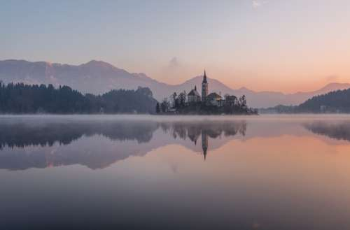 Bled Winter Lake Slovenia Castle Island Alps