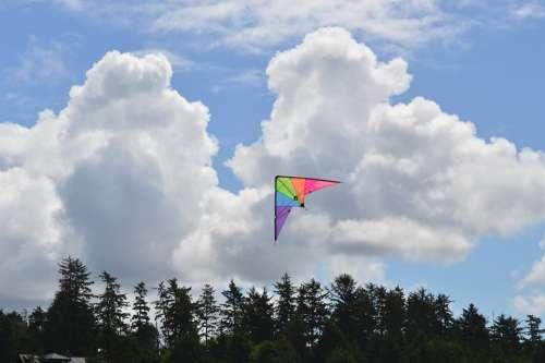Blue Sky Clouds Trees Skyline Kite Colourful