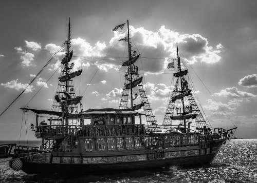 Boat Pirate Ship Sea Sky Clouds Cruise Boat