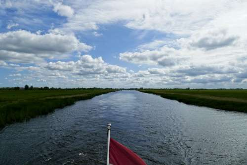 Boating Boat View Channel Clouds Holiday