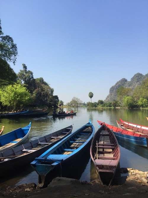 Boats Myanmar Fishing Burma Lake Asia Travel