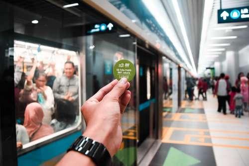 Bokeh Station Mrt Jakarta Train Blurry Indonesia