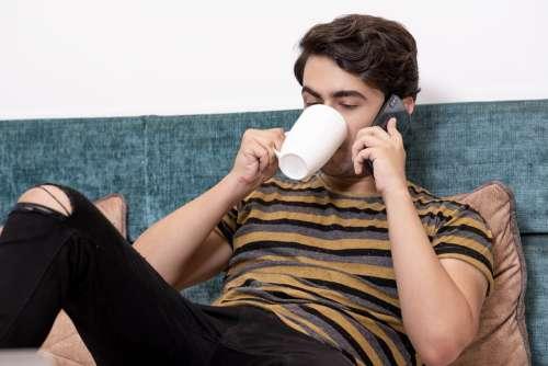 Boy Coffee Cute Mobile Man Happy Smartphone