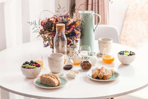 Breakfast Minimal Interior Design Indoors Meal