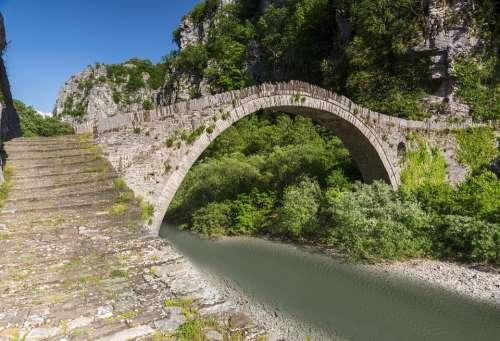 Bridge Old Stone River Water Summer Tourism