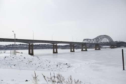 Bridge Snow River Mississippi Dubuque Frozen Ice