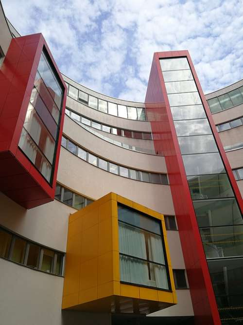 Building Modern Ar Architecture Red Yellow Sky