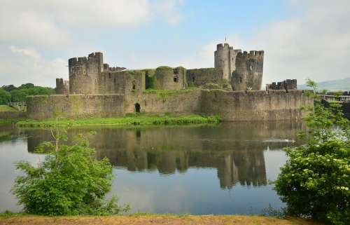 Caerphilly Castle Cardiff Wales Castle Lake