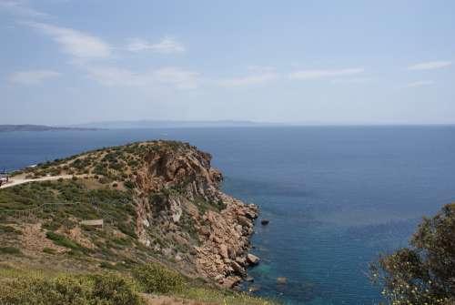 Cape Sounion Greece Cyclades Sea Nature Water