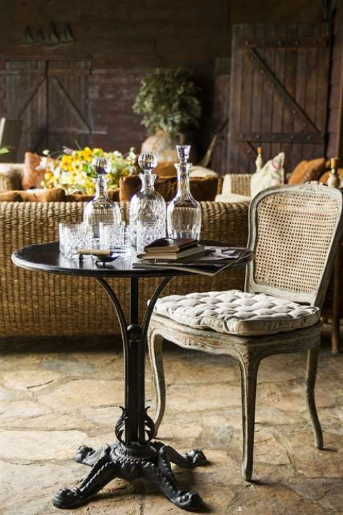Chair Table Wine Drink Furniture Decoration Decor