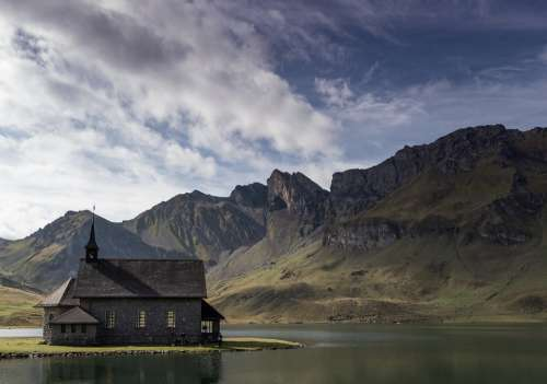 Chapel Lake Nature Landscape Water Church Alpine