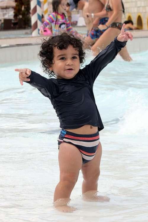 Child Pool Smile Hair Criança Sun Fun Joy