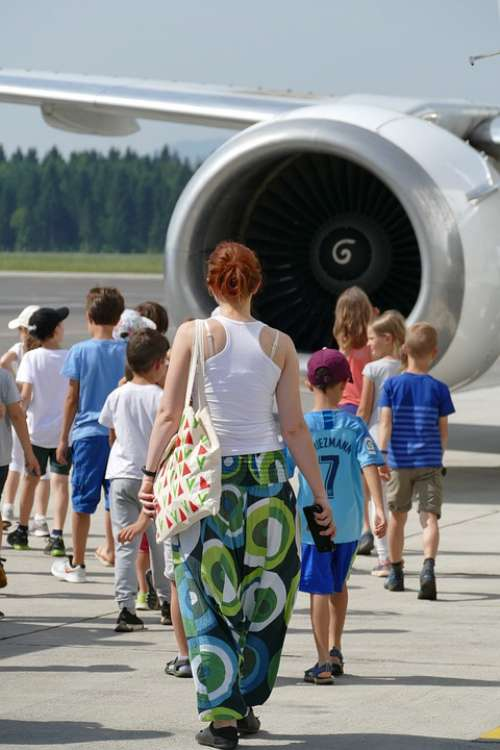 Children Airplane Airport Summer