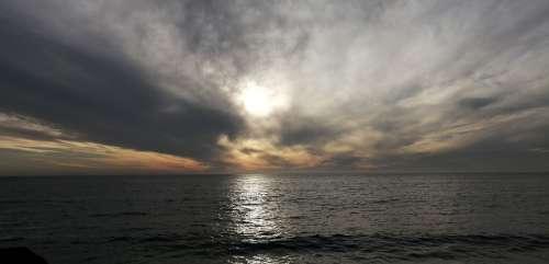 Chile Vineyard Reflection Sun Sea Clouds