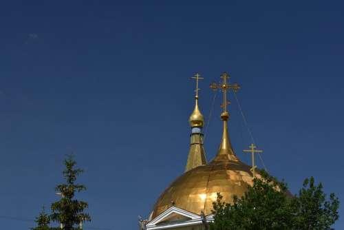 Church Orthodox Dome Crosses Novosibirsk Russia