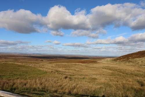 Clouds Moor Landscape Sky Yorkshire Hiking Nature