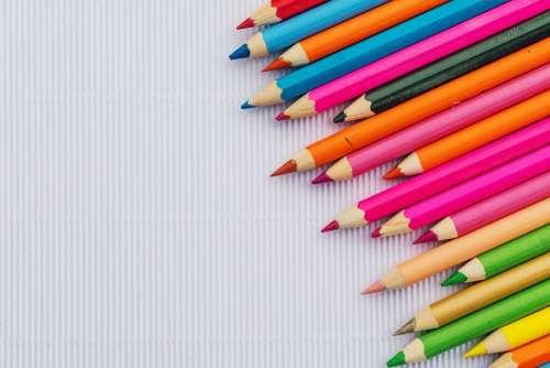 Colourful Pencils Crayons Paper Color Figure
