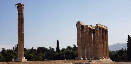 Columns Greece Pillar Architecture Tourism Ancient
