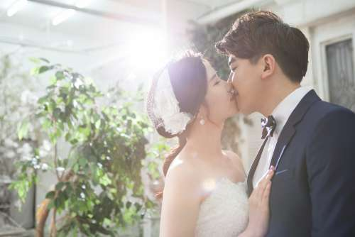 Couple Marriage Groom Bride Wedding Love Kiss