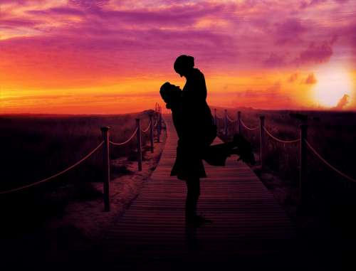 Couple Dusk Romance Sunset Love Relationship
