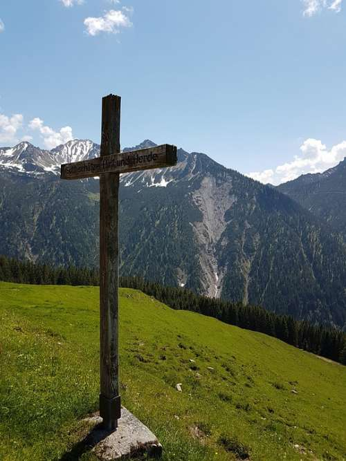 Cross Faith Christ Nature Mountains Sky Pasture