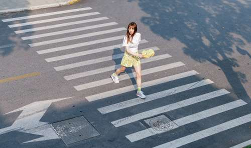 Cross The Road Girl Afternoon Handsome