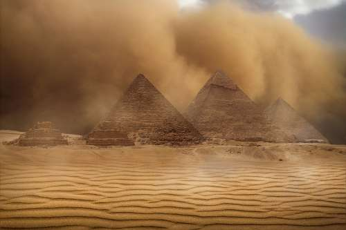 Desert Pyramids Sand Storm Landscape Egyptian