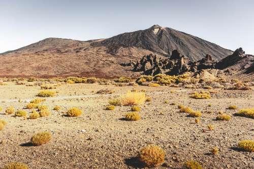 Desert Teide Tenerife Away Path Lava Sand Trace