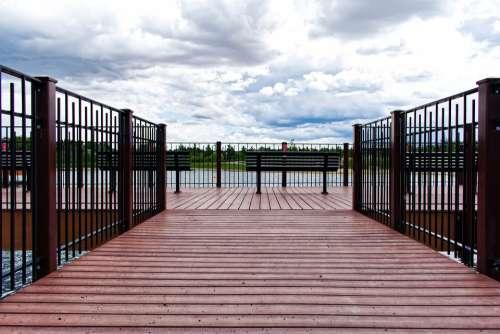 Dock Lake Outdoor Summer Wood Pier Clouds Blue