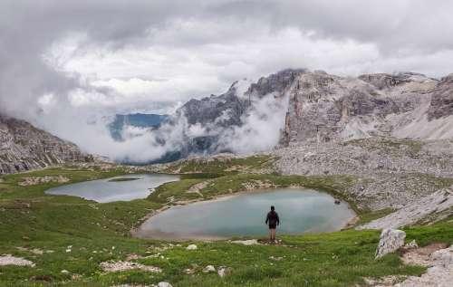 Dolomites Hiker Landscape Rock Hiking Alps Nature