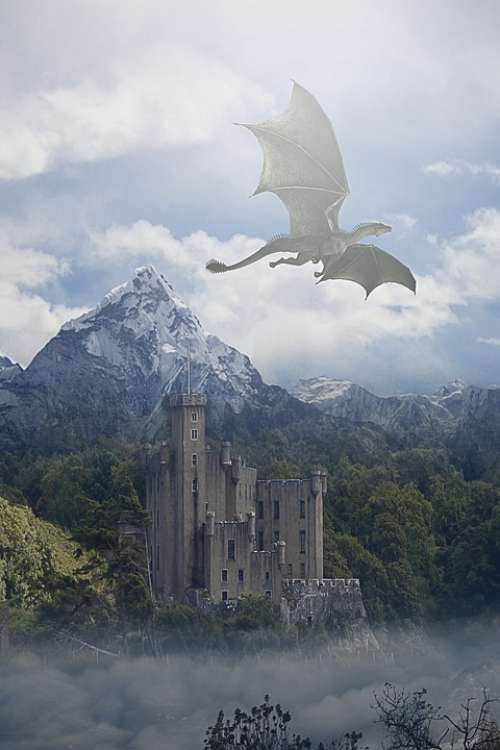 Dragon Flying Sky Clouds Mountains Trees Castle