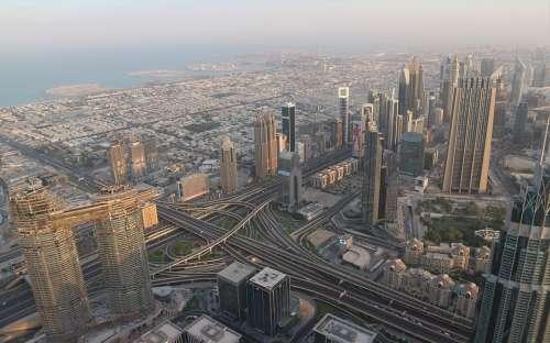Dubai Dawn City Skyscraper Buildings Burj Khalifa
