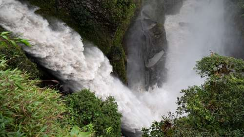 Ecuador Banos Waterfall Force Of Nature Water