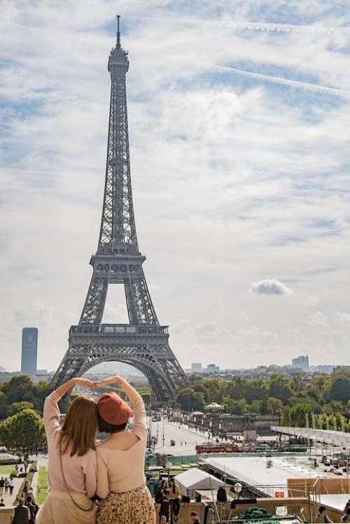 Eiffel Tower Paris France Woman Europe Landmark