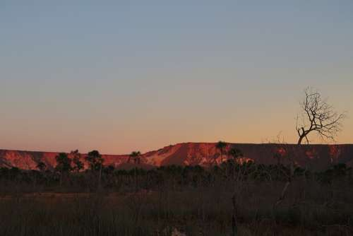 End Of Afternoon Sunset Mountain Hill Tocantins