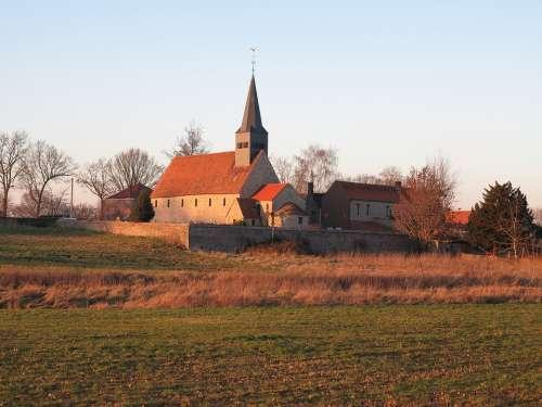 Escanguille Belgium Church Field Religion
