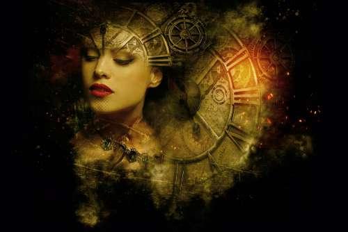 Fantasy Dark Gothic Steampunk Clock Gears Light