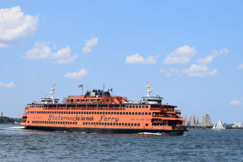 Ferry Nyc Harbor Boat Sky Ocean Sea Water