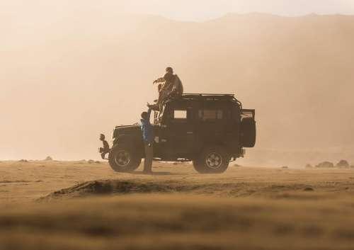 Friends Jeep Desert Ride Travel Journey Man