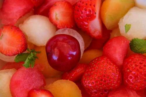 Fruit Salad Strawberry Cherry Watermelon Melon