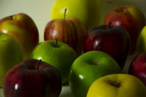 Fruits Apples Food Red Green Yellow Health