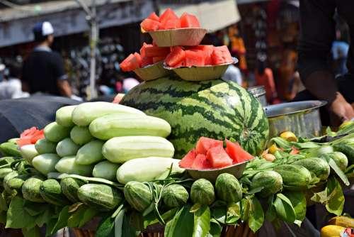 Fruits Watermelon Summer Food Healthy Red Fresh