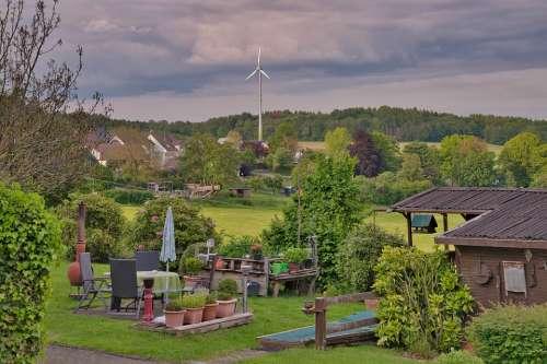 Garden Wind Power Landscape Pinwheel Nature Clouds
