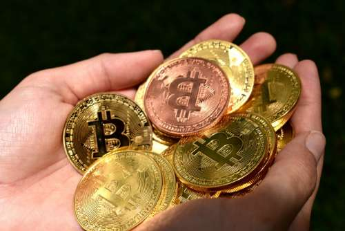 Gold Bitcoin Hands Holding Bitcoin Btc Currency