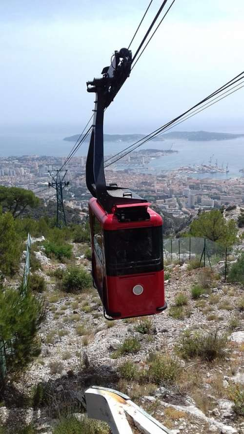 Gondola Red Black City Toulon Mountain Mount