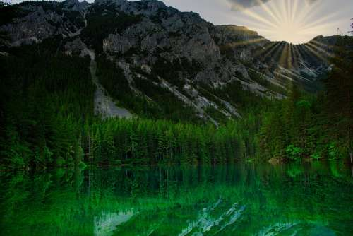 Grünersee Austria Nature Lake Mountains Reflection
