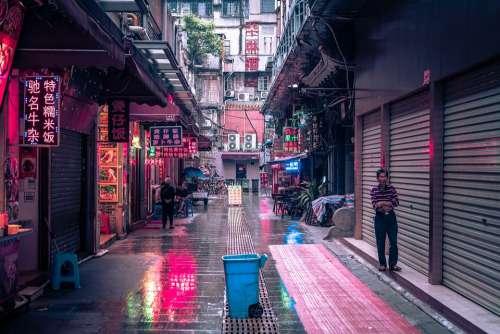 Guangzhou China Away Neon Building High