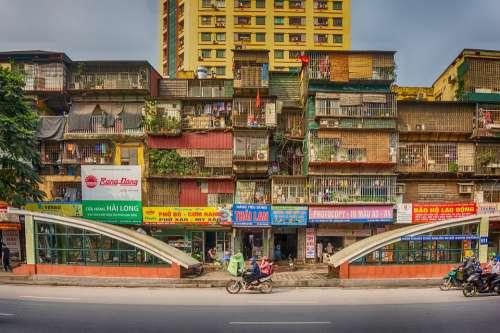 Ha Noi Vietnam City Houses Road Bicycle People